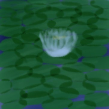 digital drawing of a lotus flower amid lily pads