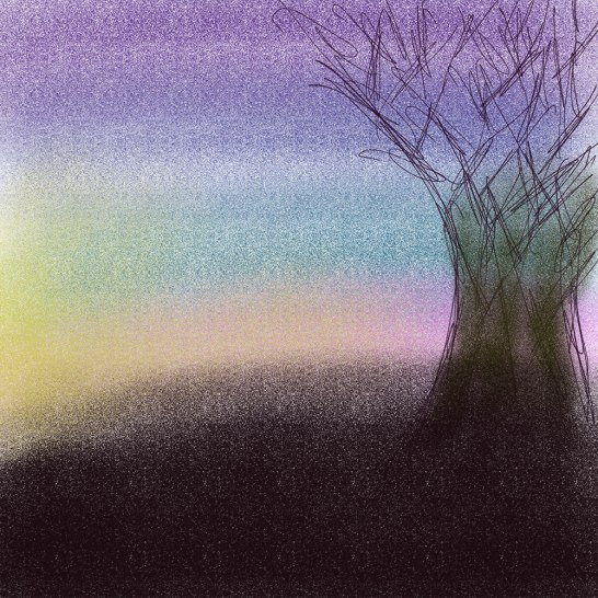 digital drawing of a tree against a sunset