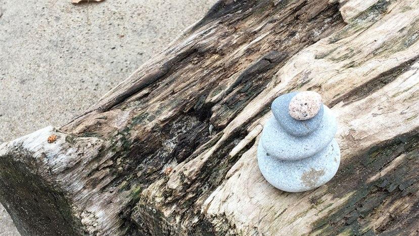 Rock sculpture on a log on the beach