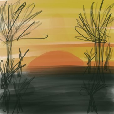 digital drawing of a sunrise