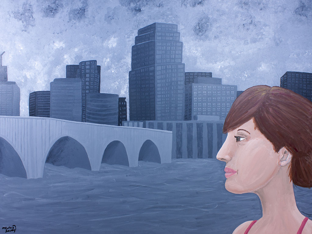 painting of a woman in front of a cityscape