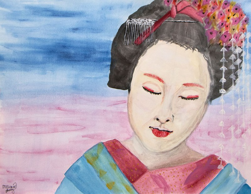 Watercolor painting of a Geisha