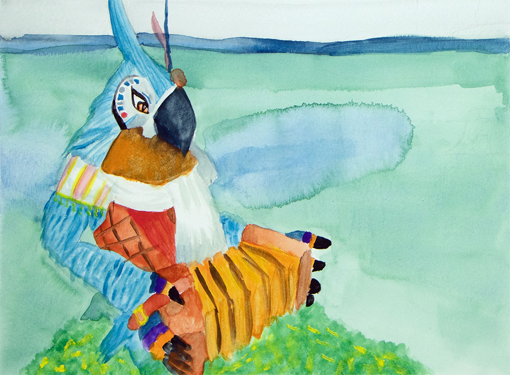 watercolor painting of a bird playing the accordion