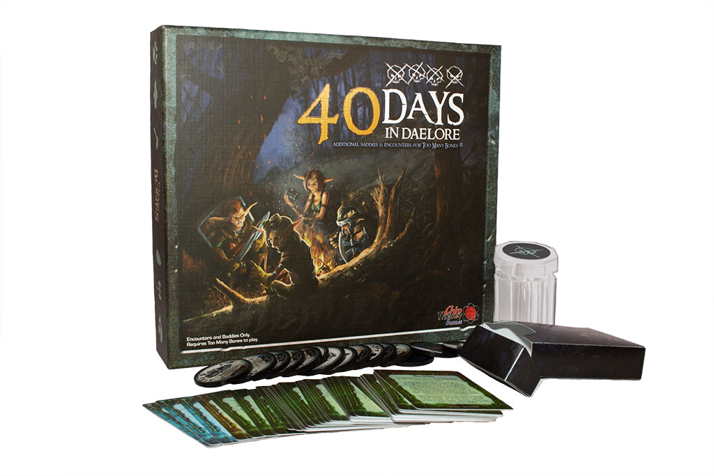 board game 40 Days showing box, cards, chips, chip holder, and tuck box
