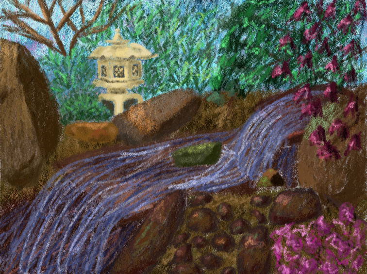 Digital panting of a small waterfall in nature