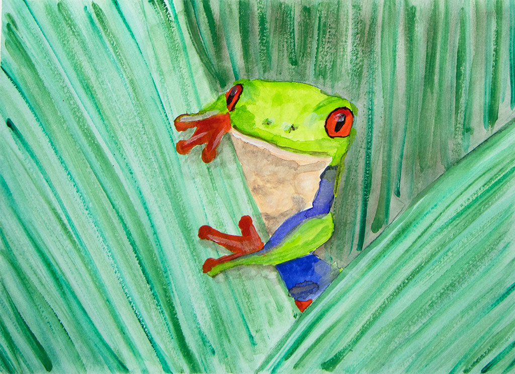 gouache painting of a tree frog on a leaf