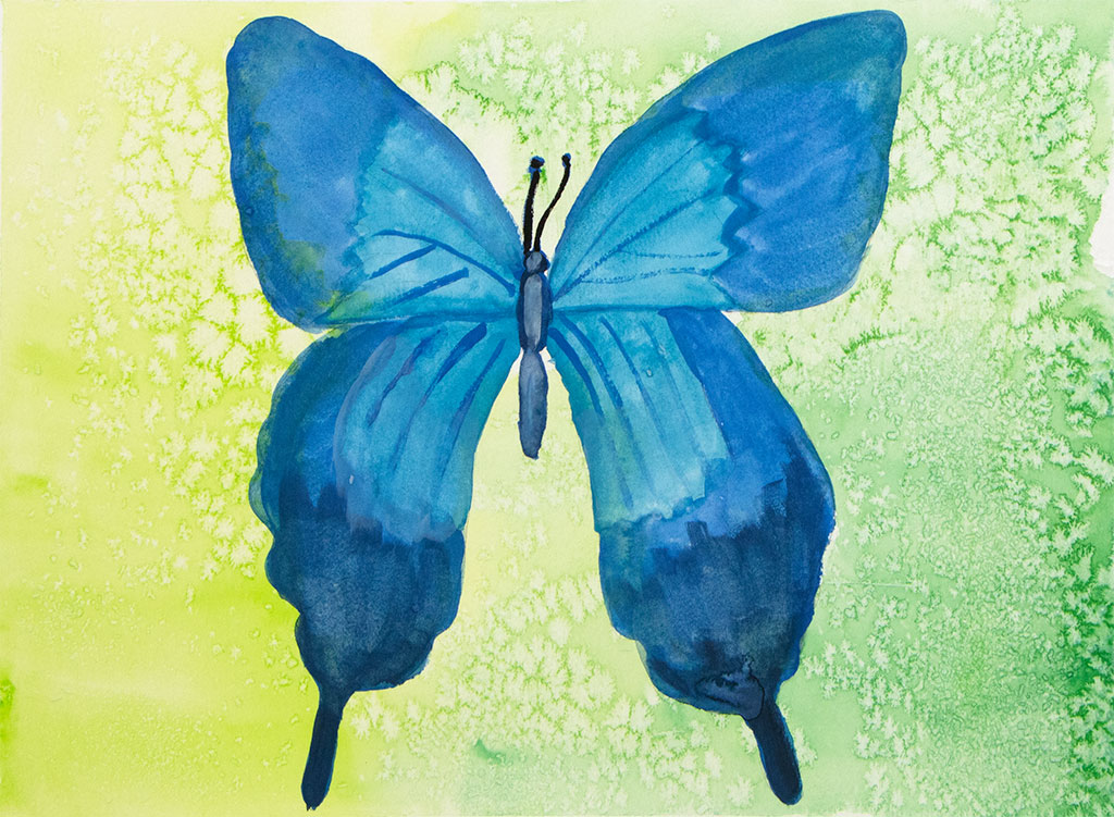 gouache painting of a blue butterfly
