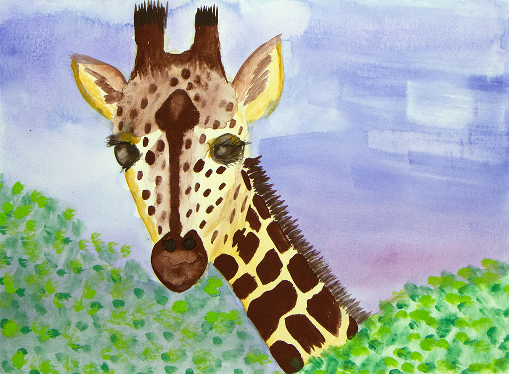 gouache painting of a giraffe