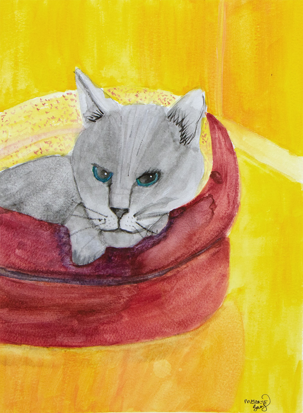 gouache painting of a gray cat in a burgundy cat bed