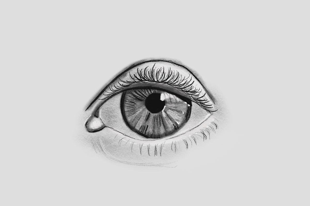 digital black and white closeup drawing of an eye