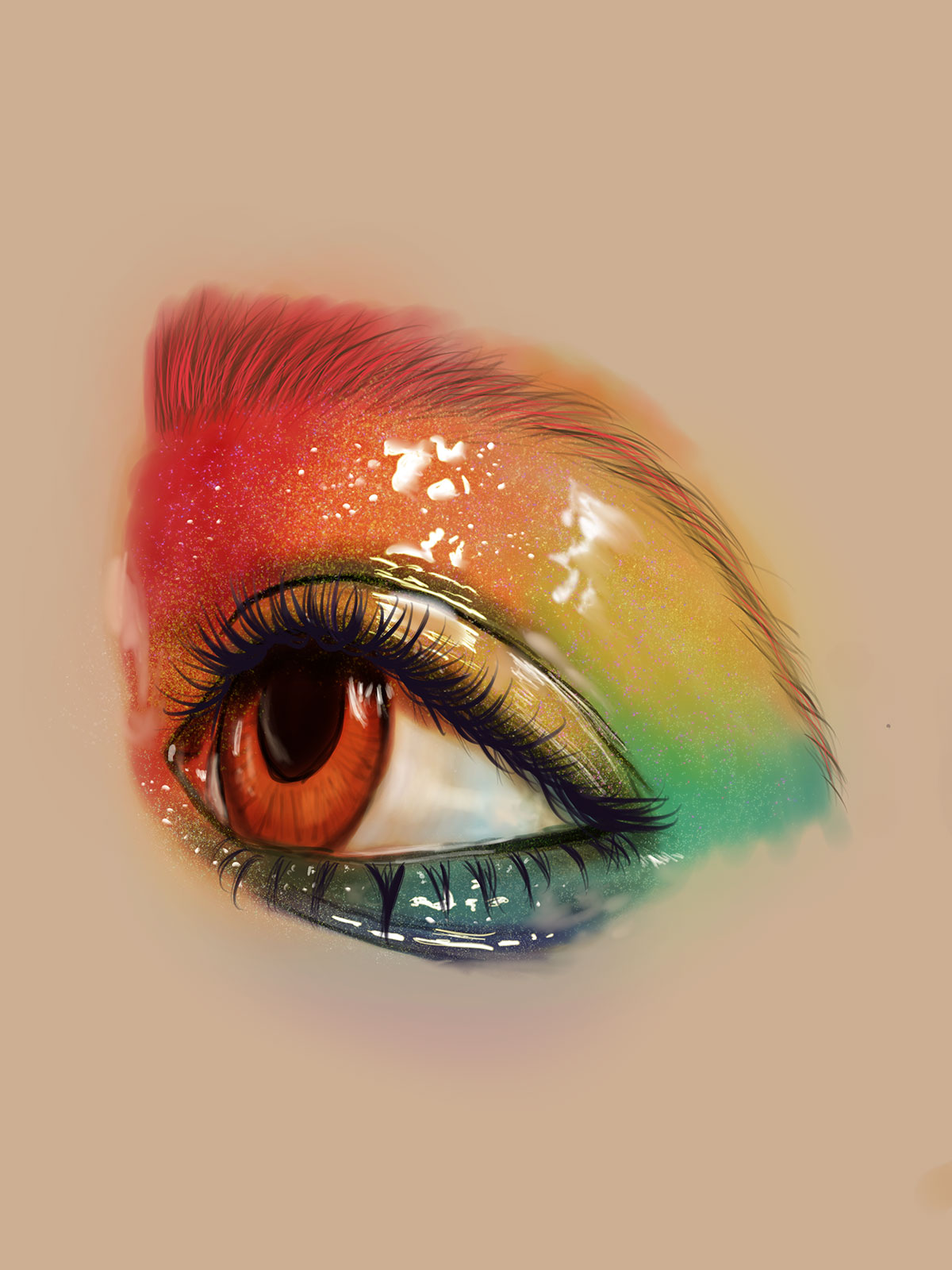 digital painting of a closeup of an eye with rainbow makeup