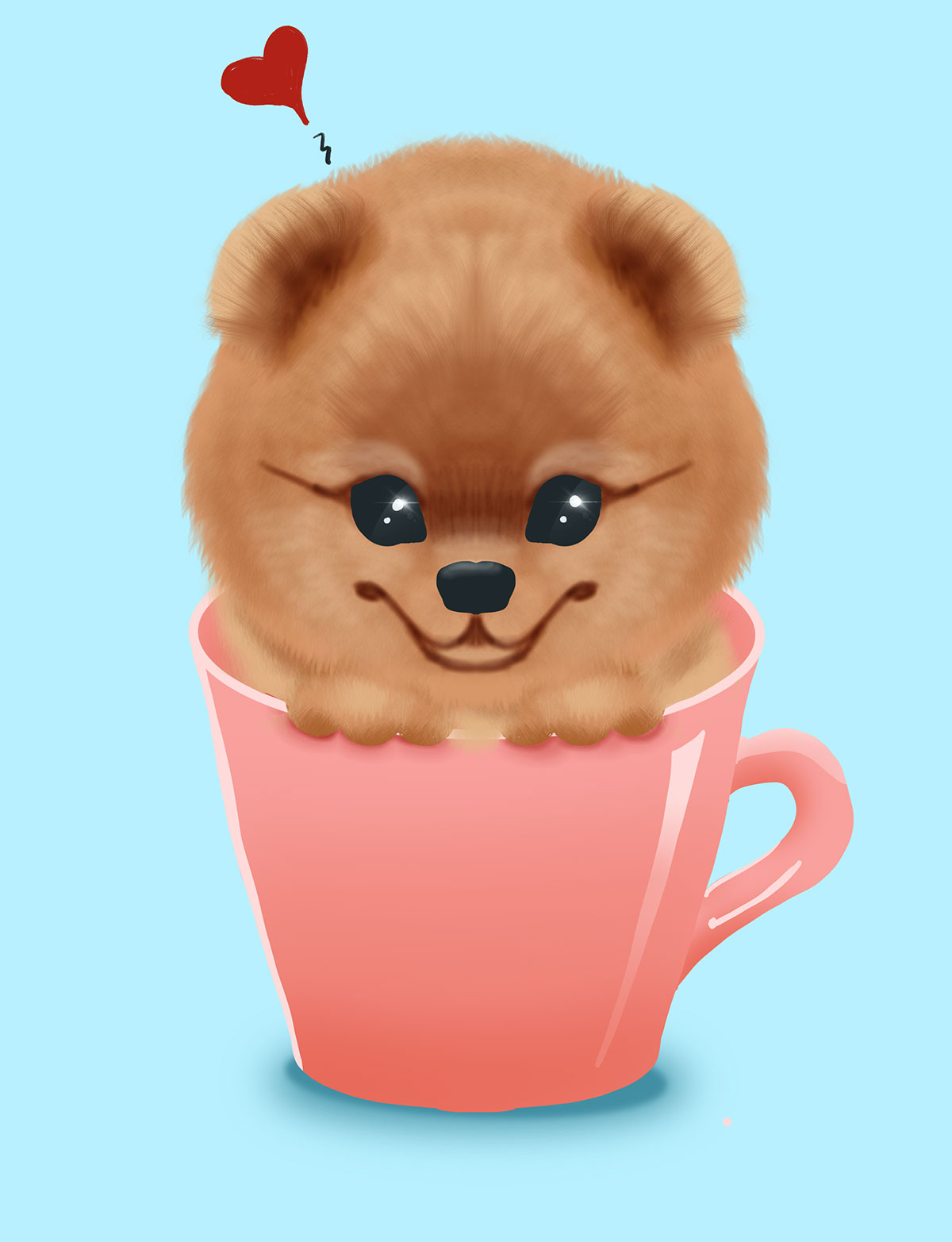 digital drawing of a puppy in a pinkish mug