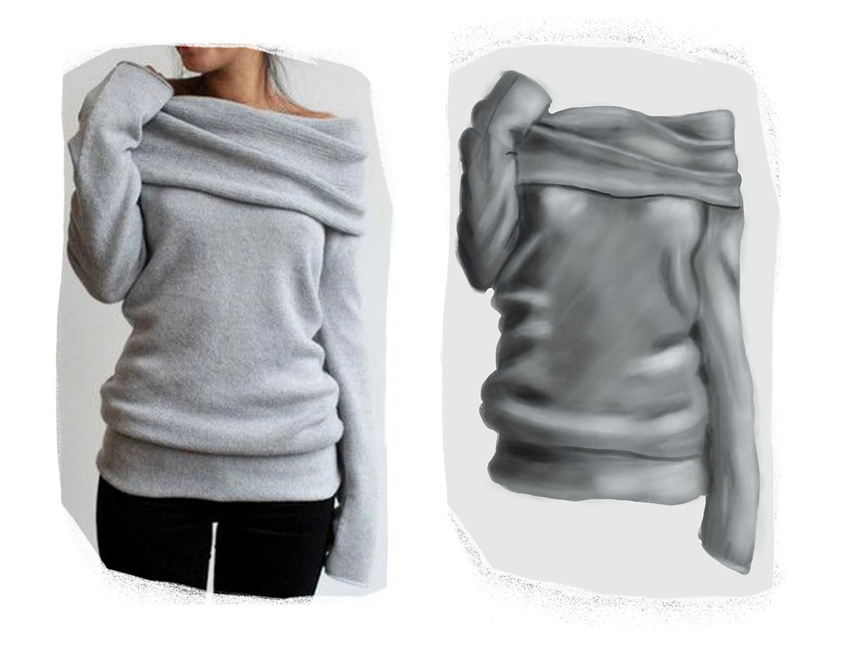 digital drawing of a sweater next to the reference image