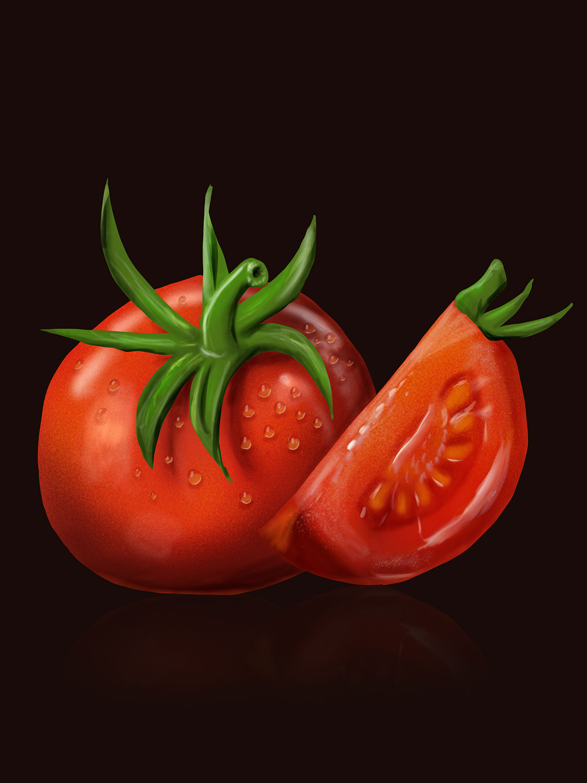 digital drawing of a full tomato and a sliced tomato